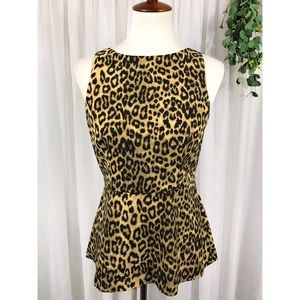 { banana republic } cheetah print peplum blouse